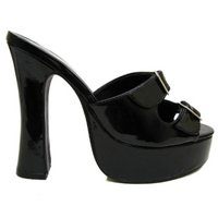 View Item BLACK PLATFORM BUCKLE DANCER SLIP-ON SANDALS SIZE 3-12